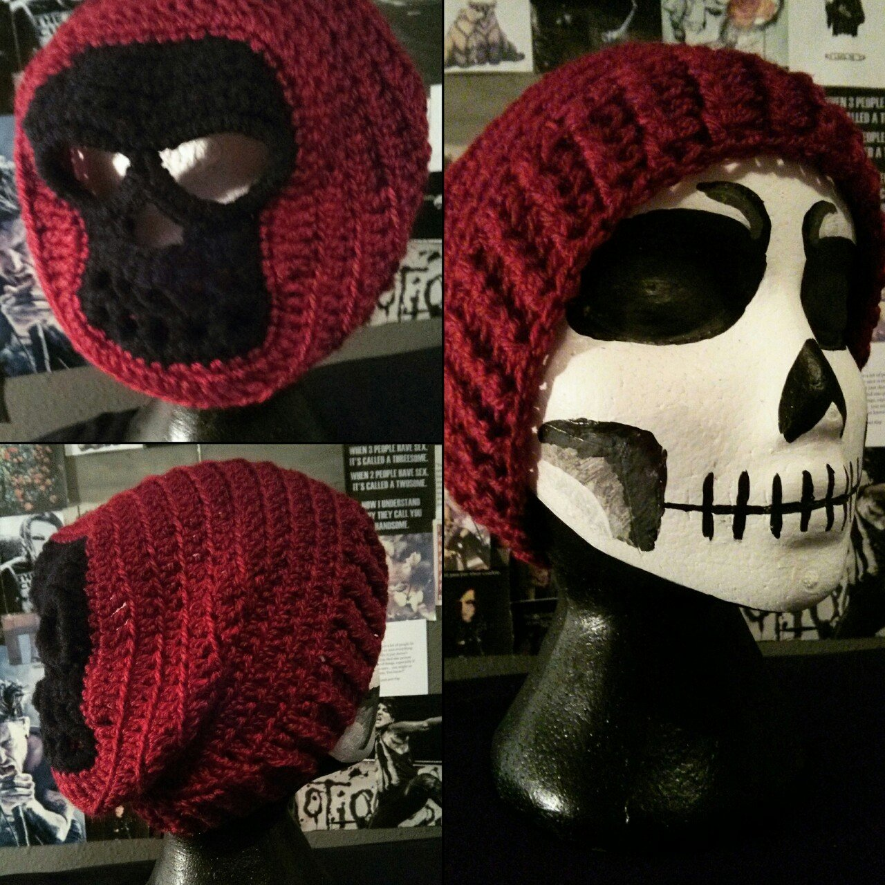 Crocheted Crimson Red Slouchy Beanie with Black Skull in ANY - Depop b905708dcdf