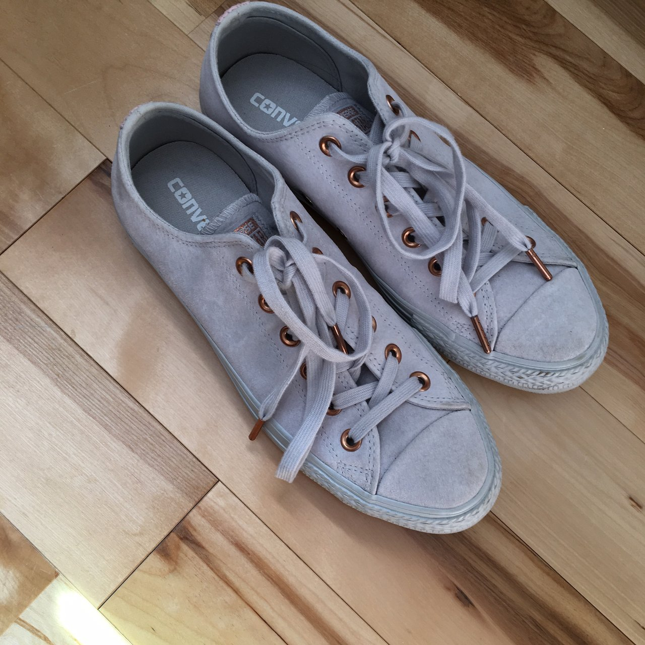 5bae6d91d2d1 all suede grey converse w  gold rings and pink accents. were - Depop