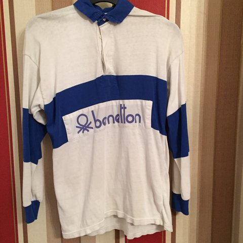 bc676633680 Vintage Benetton rugby shirt want a quick sale perfect no - Depop