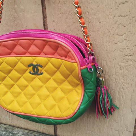 14e6040b0f75 Vintage colorblock quilted Chanel purse in great bright pink - Depop