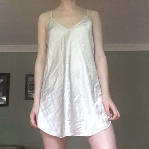 dd1b2a8063b0 Vintage white silky slip mini dress! No flaws other than on - Depop