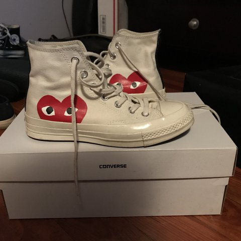 56ffe6a0958f CDG high top converse in white! These are a women s 7. I d a - Depop