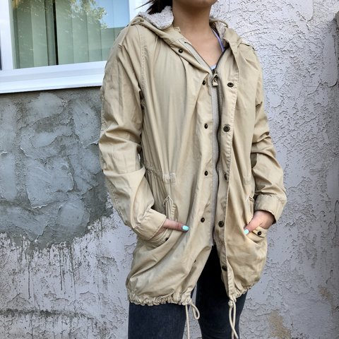3d2ac0ed230e0 Urban outfitters tan trench coat Camel nude tan zip up line - Depop