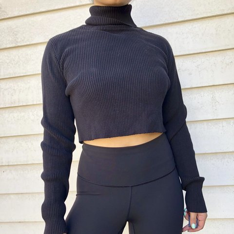 3e6c90e495681 Crop knit black turtle neck top Ribbed turtleneck long SZ a - Depop