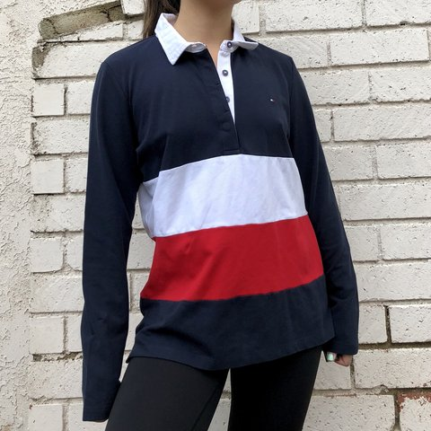 cb4029d9 @babytrees. 4 months ago. Los Angeles, United States. Tommy Hilfiger long  sleeve polo top. Colorblock flag thick stripe
