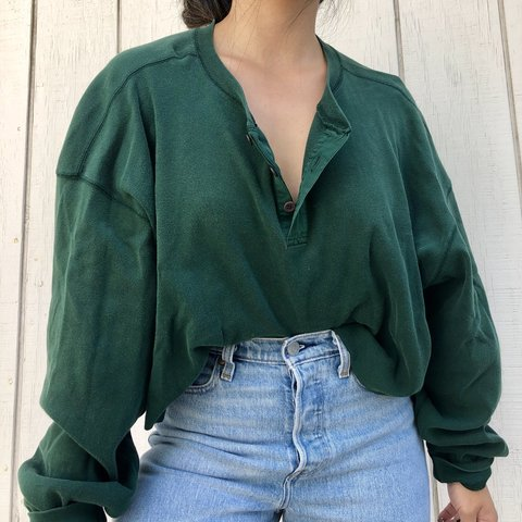 4d0805feb @babytrees. 22 days ago. Los Angeles, United States. Vintage crop forest  green Henley long sleeve top. Raw hem evergreen. Banana republic