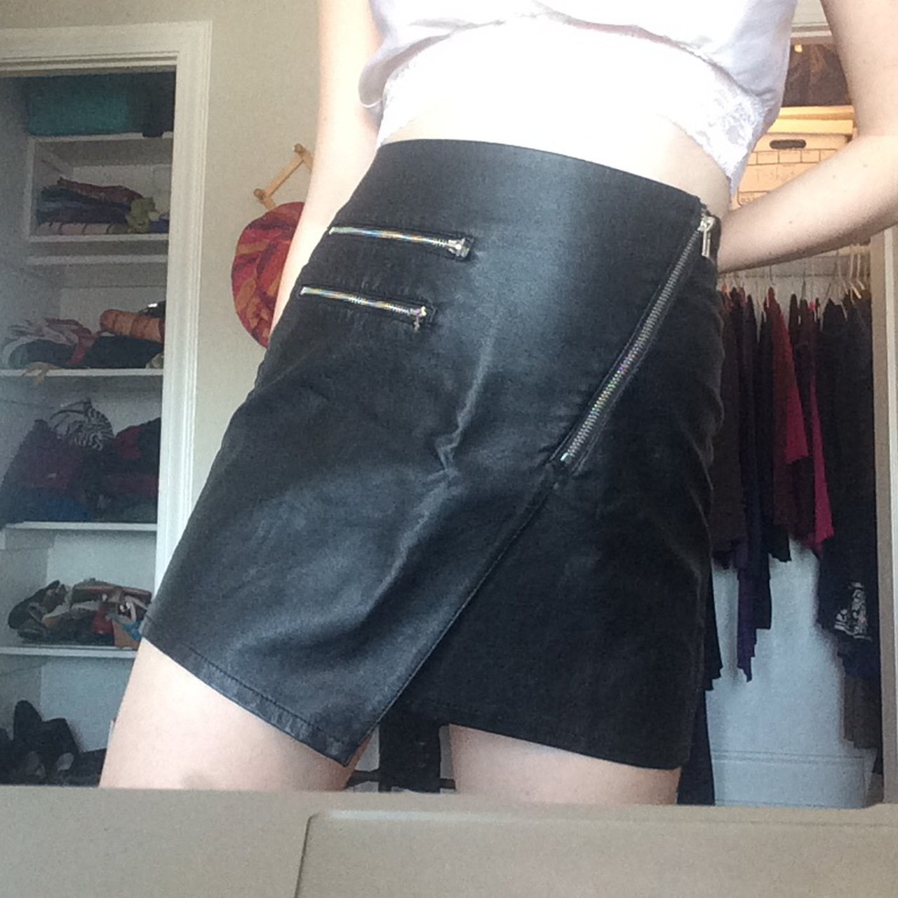 d343120a79 @rubymcquie. 10 months ago. Washington, United States. Black faux leather  mini skirt with zipper!