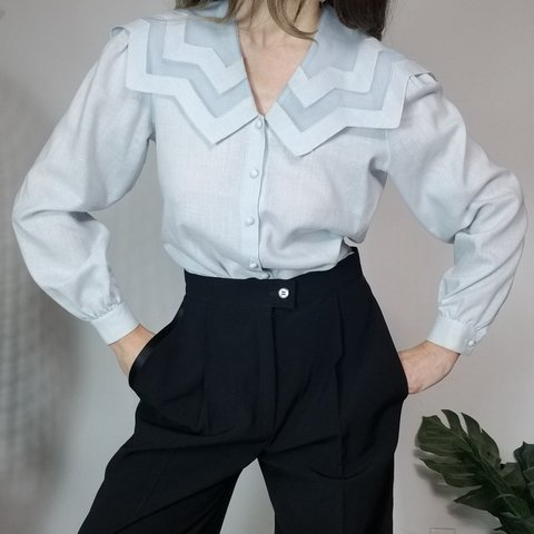 ad70d7cc13bc2d Vintage 80s Blouse with the Best Collar Beautiful baby blue - Depop