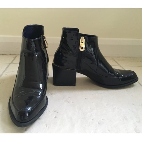 d2ed47fcdf06 Zara patent black ankle boots with gold detailing  Shoes - Depop