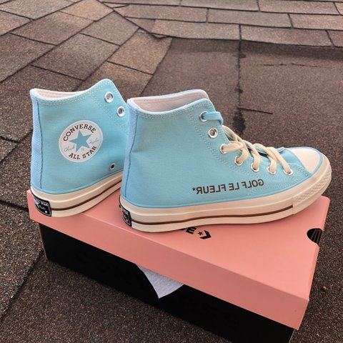 7516e14b969 baby blue high top converse x golf le fleurs by golf wang. 5 - Depop
