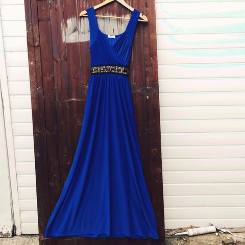 Royal Blue plus size maxi dress, soft touch material, for or - Depop