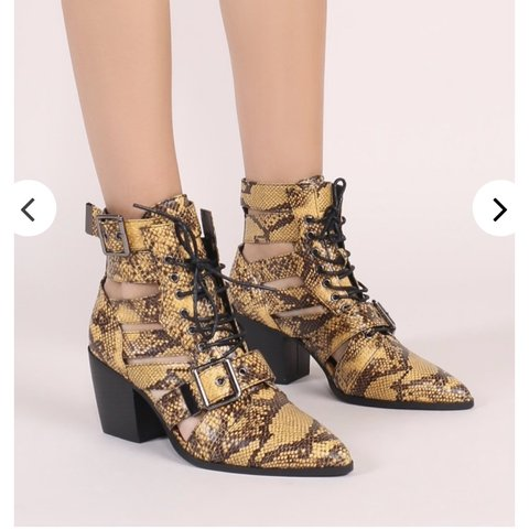 6af6e34a2dc2 @hannahjones92. 11 days ago. Manchester, United Kingdom. Public Desire Zara  Lace Up Ankle Boots in Yellow Snake ...