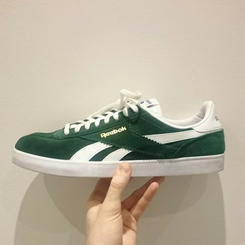 9622f7626 @threadbox. 3 years ago. Northampton, United Kingdom. Vintage green suede reebok  classic trainers mens size 8. Worn ...