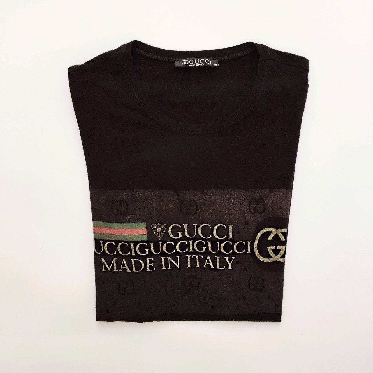 e6830152 Genuine Gucci Black And Gold T Shirt Size Medium Good Depop