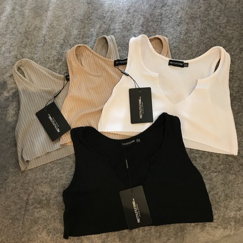 dee0d15629e9d PRETTY LITTLE THING PLT raw edge crop tops Have 1 of each as - Depop