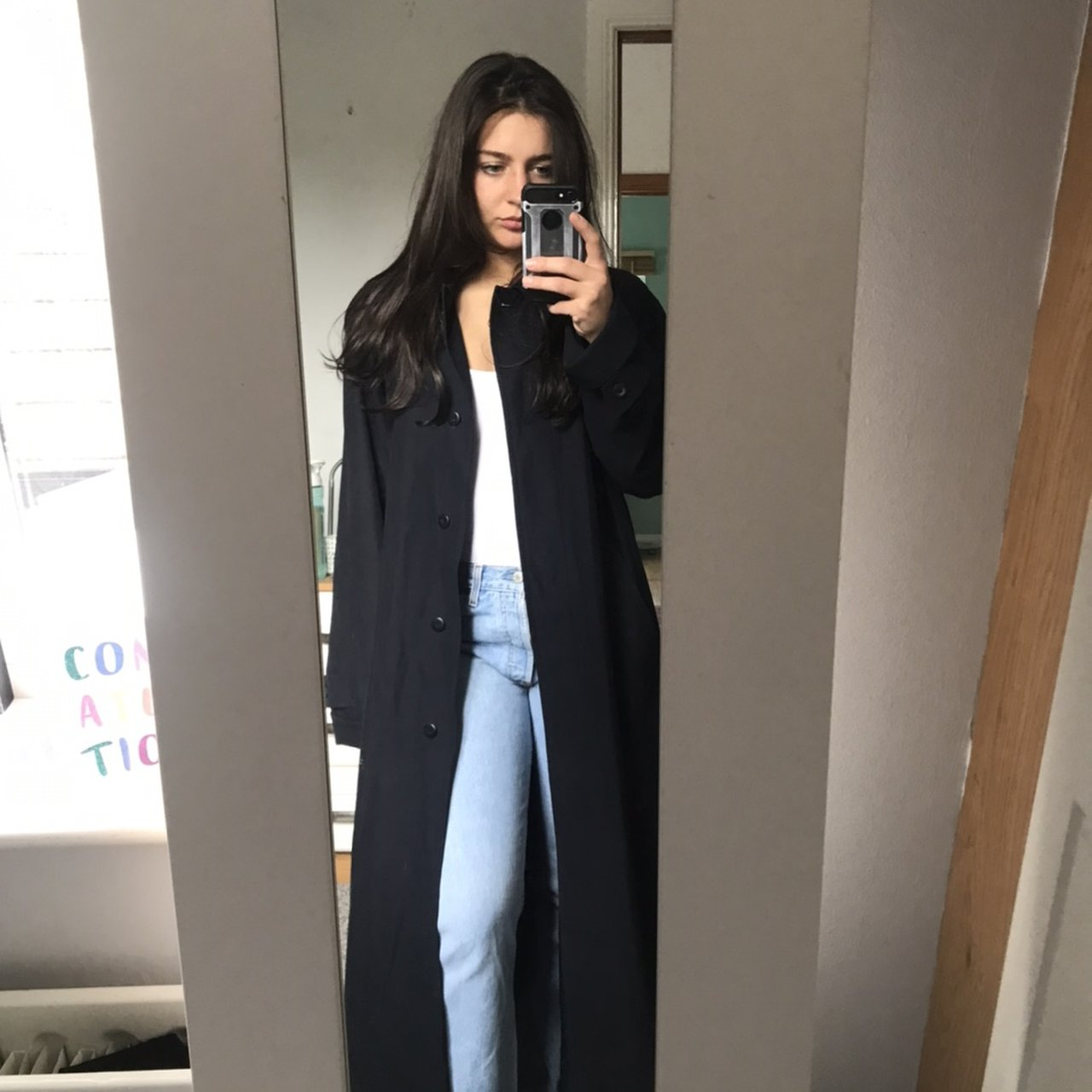 Austin Reed Long Oversized Navy Trench Overcoat Xx Depop
