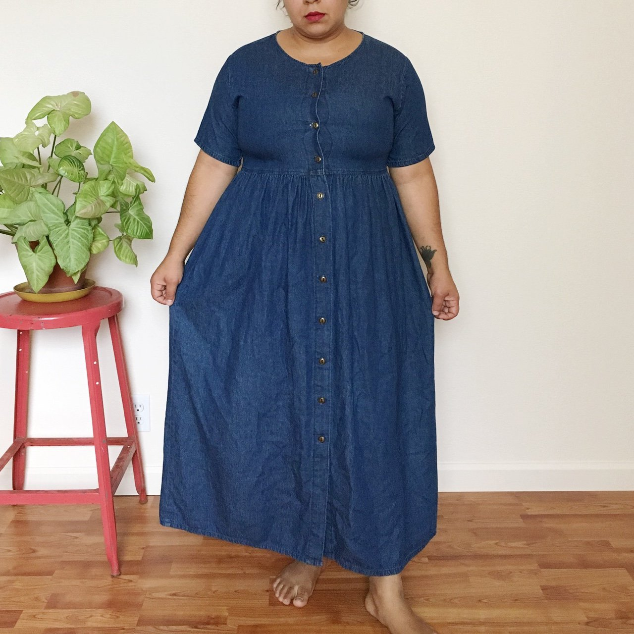 a9c14a93925 Vintage 90 s long denim dress   Button Down front with a and - Depop