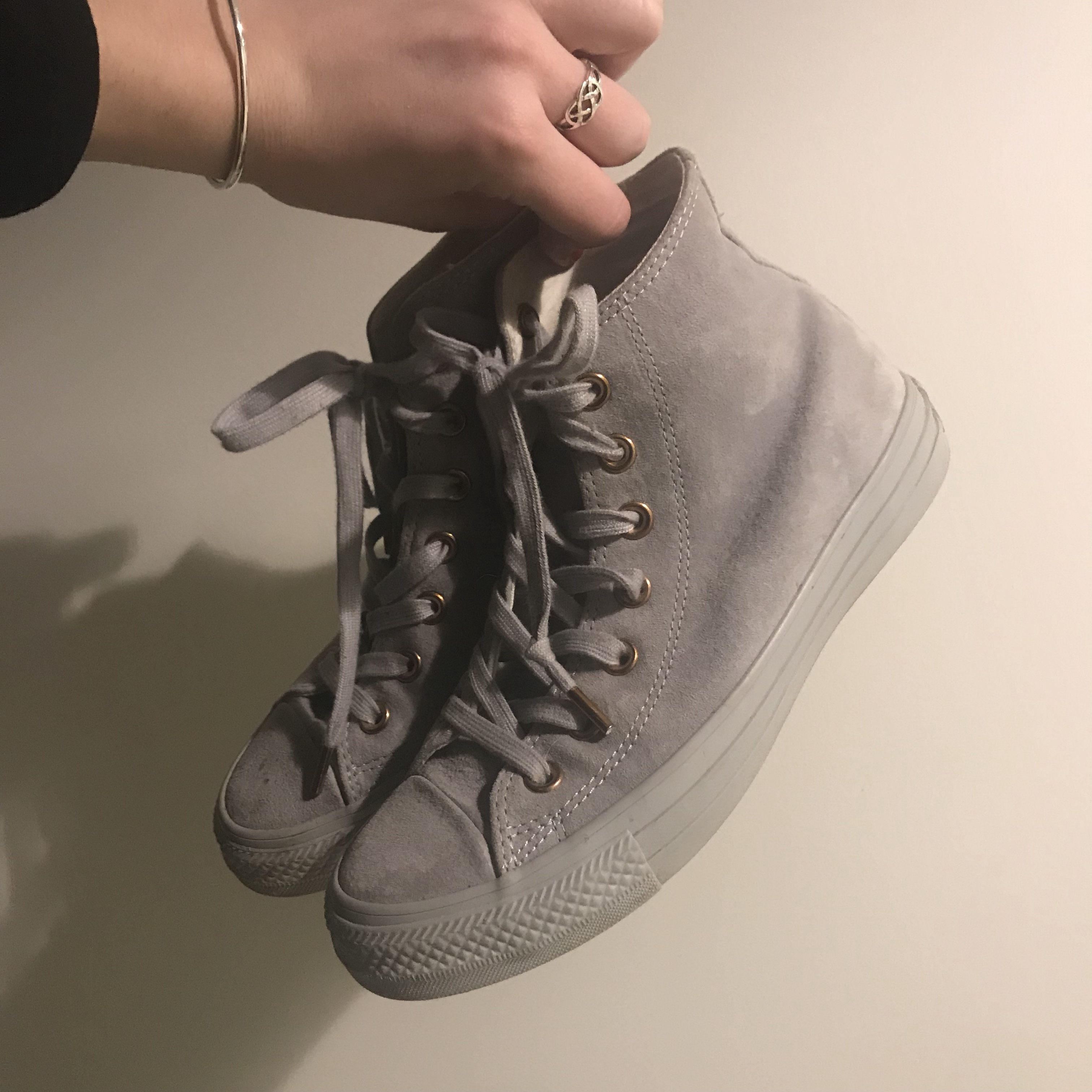 Converse All Star Ash Grey and Rose Gold Depop
