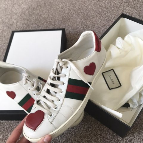 ba05a975075 GUCCI HEART TRAINERS - size 5 - TAKING OFFERS - Depop