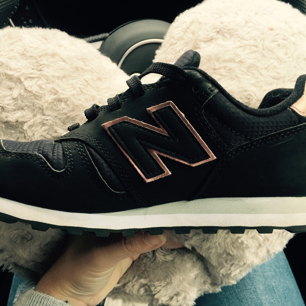 new product elegant and sturdy package hot-selling New Balance 373 in black and rose gold Sold out... - Depop