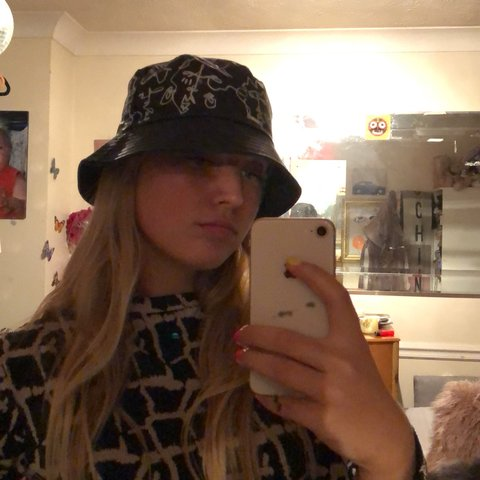 33695c52904 Frankie Noller© customised patent bucket hat with original - Depop