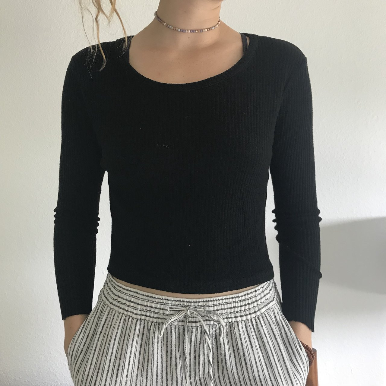 8d7891771217b black ribbed brandy melville crop top sweater not itchy at a - Depop