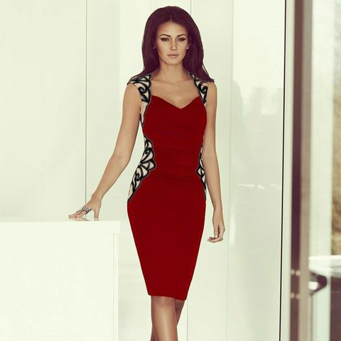 fd3b7b5ccd4 LIPSY COLLECTION Michelle Keegan berry red dress with I - Depop