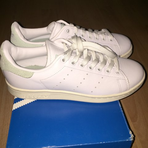2bcf95f1a32495 White + pastel green adidas Stan smith size 5. Brand new RRP - Depop