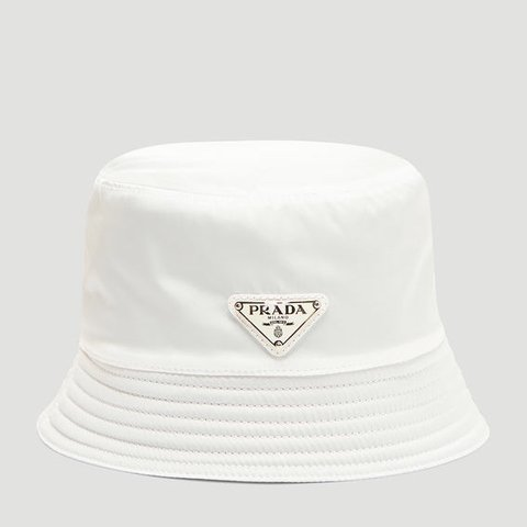 e8245114fd8 White Prada Bucket Hat 👒 Brand new with box + tags. Sold - Depop