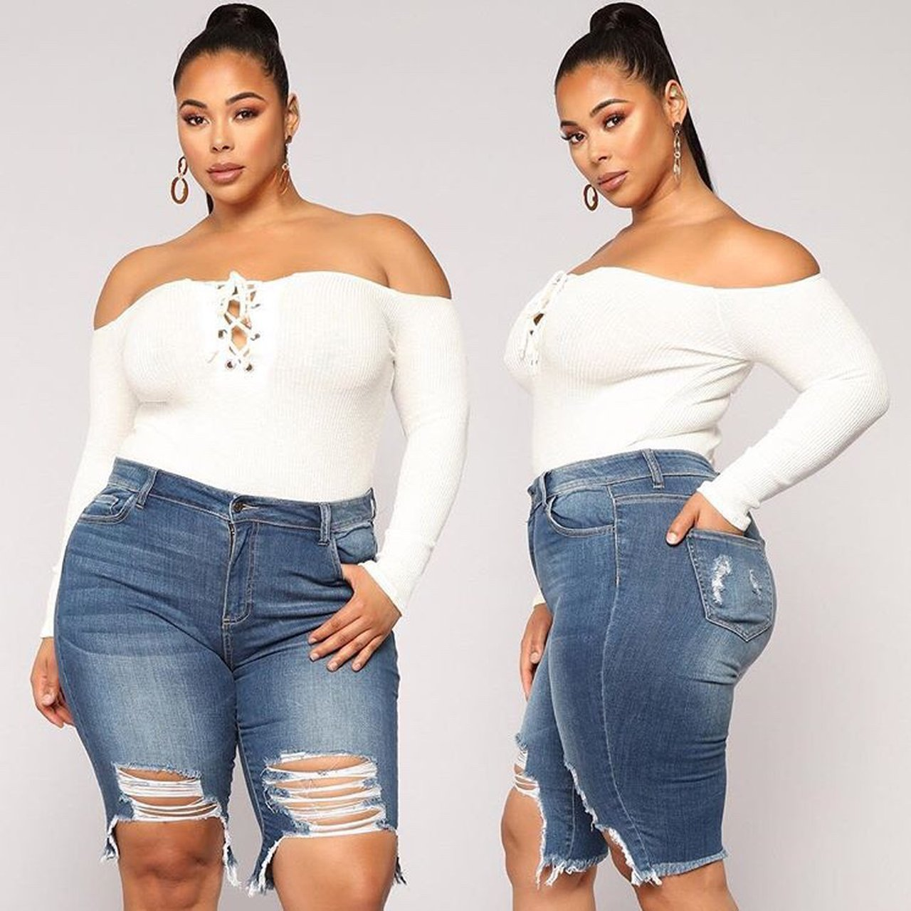 """FASHION NOVA CURVE """"I ll be seeing you"""" body suit in Ivory ( - Depop e544895e25b"""