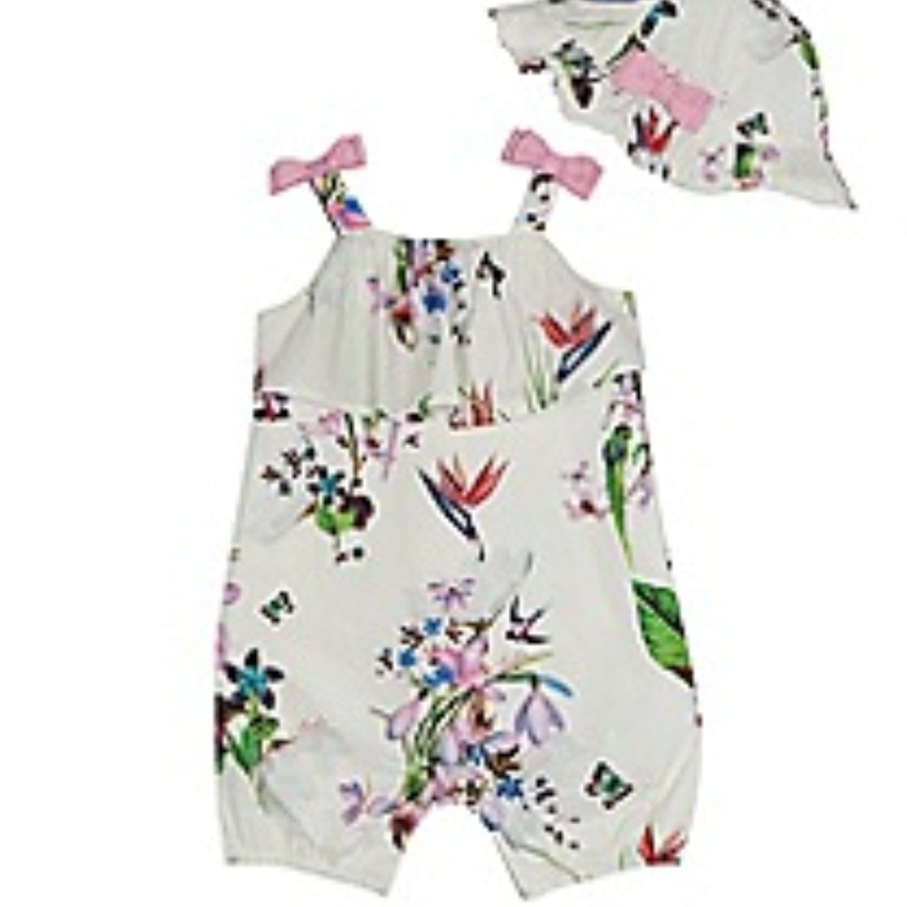 b5407d250ca Baby girl Ted baker floral romper with matching hat 3-6 once - Depop