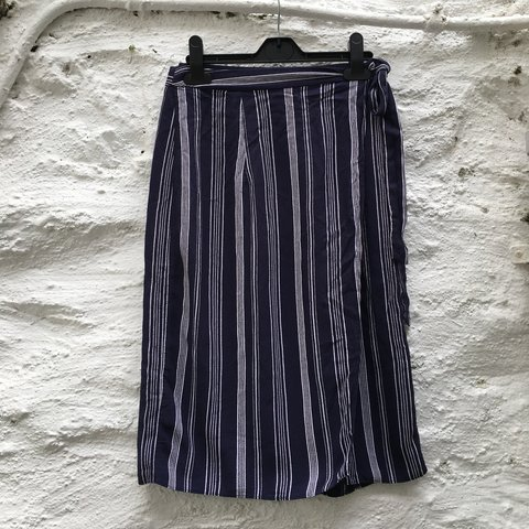 00f38c4c7 Wrap around and tie blue and white pinstripe skirt. Easy to - Depop