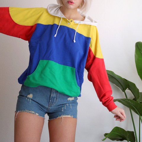 vintage primary colors color block henley style hoodie this depop
