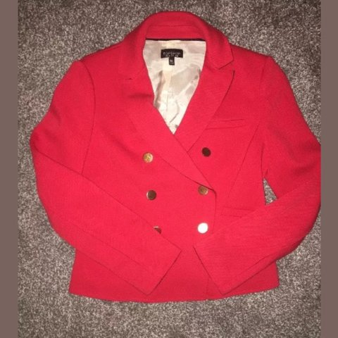 6b6f4abf6 @laurenmoon3y. 2 years ago. Bradford, UK. Topshop Double Breasted Gold  Button Red Blazer ...