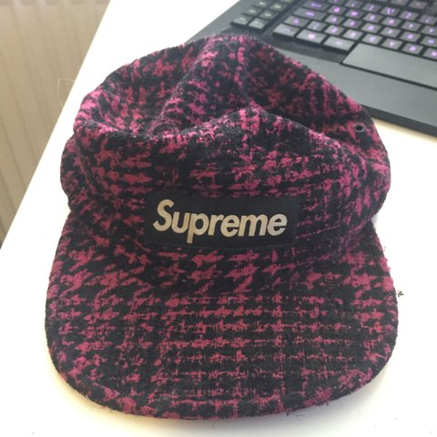 1e1fcceaa90 Supreme patterned purple and black cap flat peak