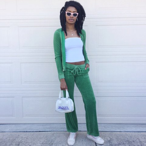 d2b5c356def1 💗 early 2000 s green velour juicy couture tracksuit. 💗 Top - Depop