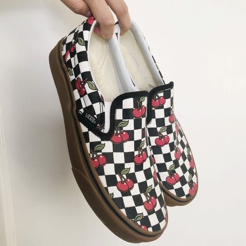 d9ae2bf5e69a 🍒 cherry checkered vans 🍒 from my closet only worn a of 🍒 - Depop