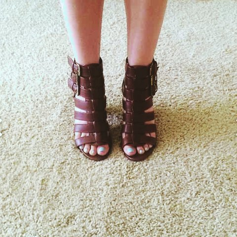 6821fb5d17 @saraeplant. 4 years ago. Los Angeles, CA, USA. Brown #Gladiator #Heeled #Sandals  no platform ...