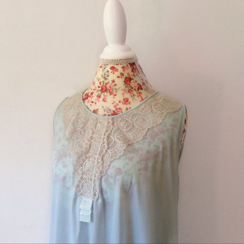 59104fcd980 Vintage 1960 s pastel blue babydoll lace nightgown. So - Depop