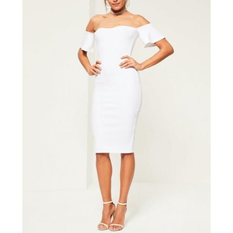 1792b6e0652 Missguided White Bardot Bodycon Midi dress. Never worn with - Depop