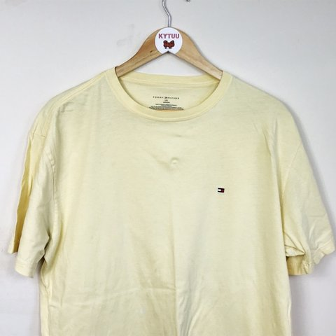 3286da298 Tommy Hilfiger T-shirt Light yellow Tommy Hilfiger tee on - Depop