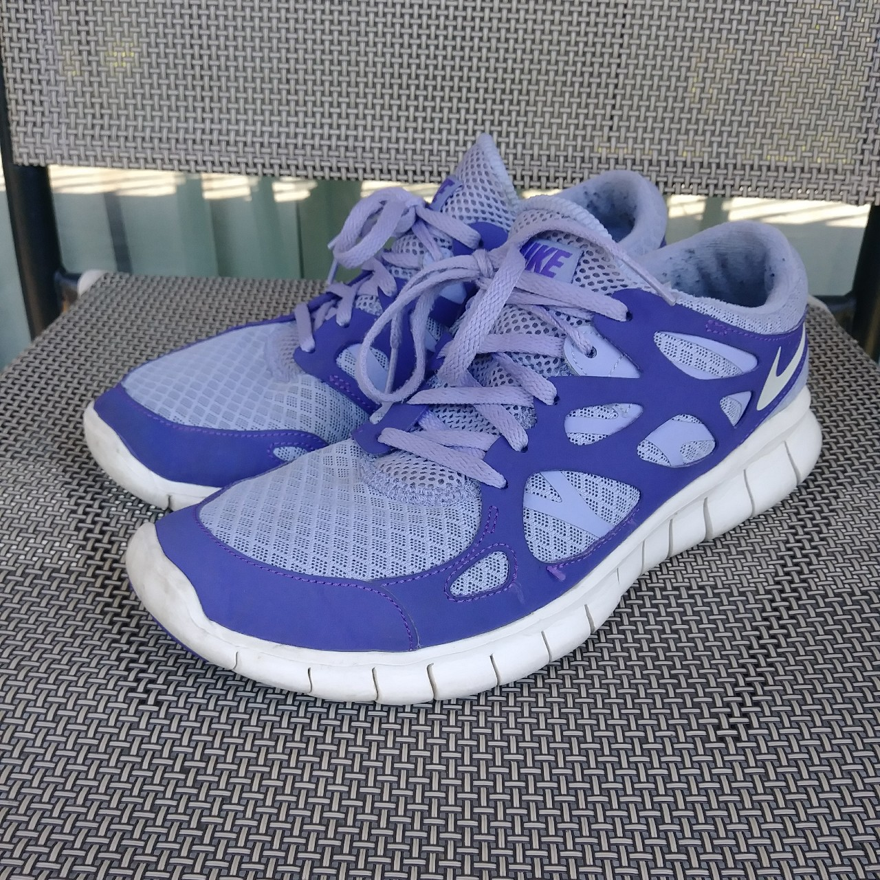 sports shoes 25f7a 8c727 Cute purple Nike free run 2 shoes! They are worn on... - Depop