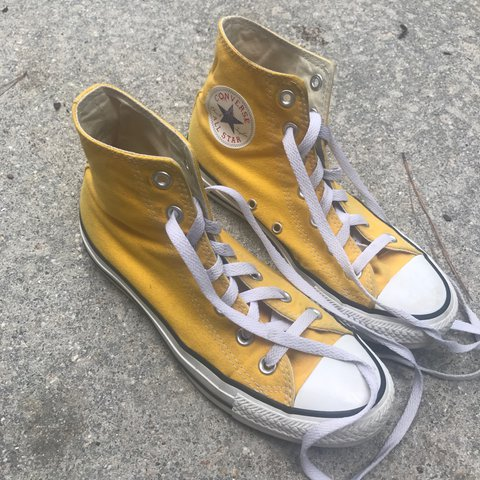 yellow high top converse! i love them but they re too big to - Depop f161cf450