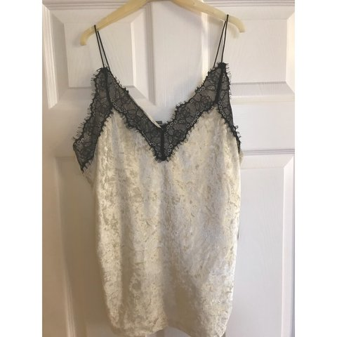 e0875138323 White crushed velvet and Black lace cami top - Unworn only - Depop