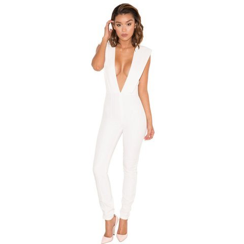 7307b47d1e8 House of CB white plunge jumpsuit   Size XS (6-8)   Perfect - Depop