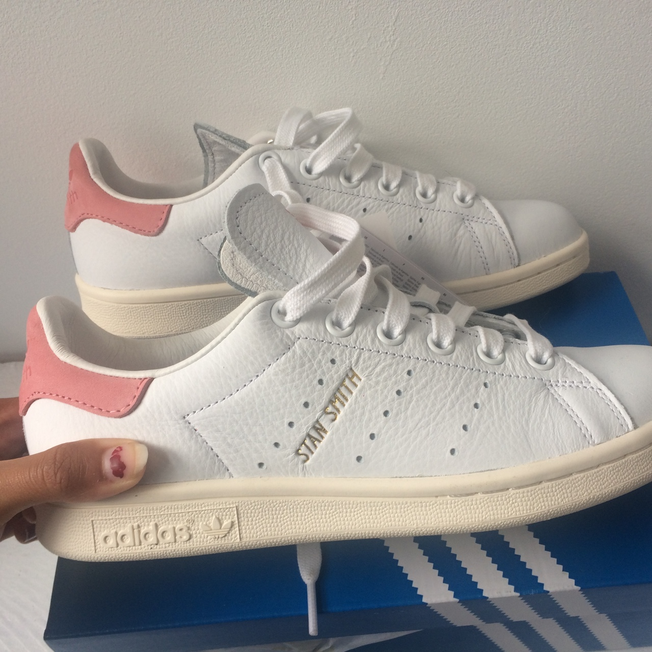 best cheap 3cb8a 4f0f0 Adidas stan smith ray pink sold out never worn with... - Depop