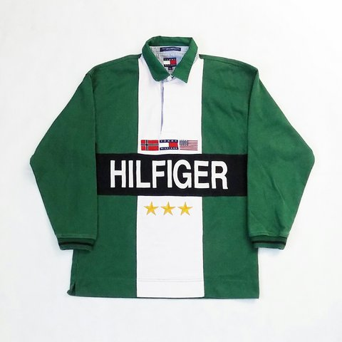 3e5870e2 @robsrack. last year. Worcestershire, UK. Vintage Tommy Hilfiger spell out  long-sleeve polo in green. Heavy embroidery logos ...