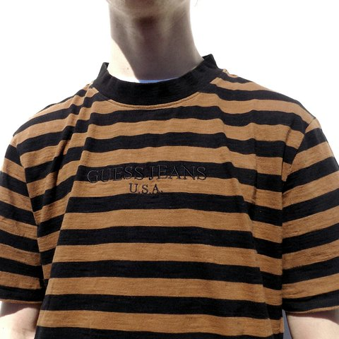 88ab3bb00c2b @robsrack. last year. Malvern, GB. Vintage Guess Jeans USA striped t-shirt  in brown and black.