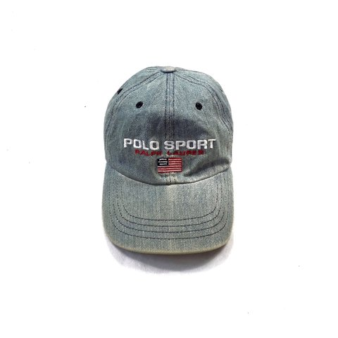 Vintage Ralph Lauren Polo Sport baseball cap in navy. Denim - Depop d81502c161d8