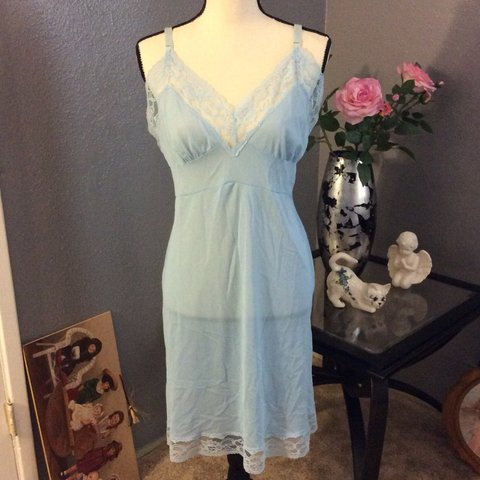 31141bb05 Vintage powder blue night slip. In good condition. Pre-owned - Depop